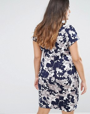photo Wrap Dress In Floral Print by Uttam Boutique Plus, color Ivory - Image 2