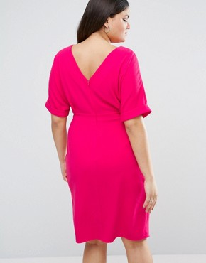 photo Smart Midi Dress by ASOS CURVE, color Raspberry - Image 2