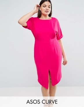 photo Smart Midi Dress by ASOS CURVE, color Raspberry - Image 1