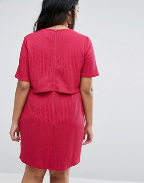 photo Double Layer Textured Mini Wiggle Dress by ASOS CURVE, color Fuschia - Image 2