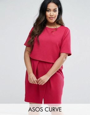photo Double Layer Textured Mini Wiggle Dress by ASOS CURVE, color Fuschia - Image 1