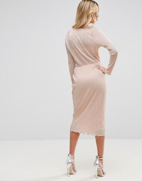 photo Pencil Plisse Dress with Wrap Detail by ASOS, color Nude - Image 2