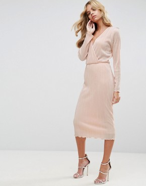 photo Pencil Plisse Dress with Wrap Detail by ASOS, color Nude - Image 1