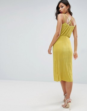 photo Cami Dress with Wrap Front in Plisse by ASOS, color Chartreuse - Image 2
