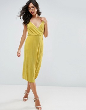 photo Cami Dress with Wrap Front in Plisse by ASOS, color Chartreuse - Image 1