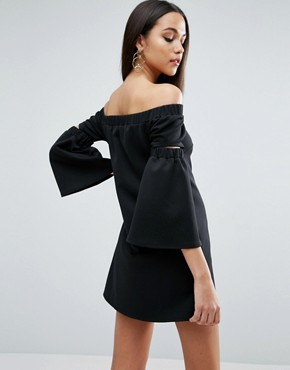 photo Off Shoulder Split Sleeve Swing Dress in Scuba by ASOS, color Black - Image 2