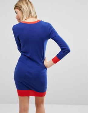 photo Lip Motif Knit Dress by Sonia by Sonia Rykiel, color Blue - Image 2