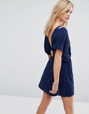 photo Astro Bandit Kimono Sleeve Mini Dress with Beading by Chandelier, color Navy - Image 2
