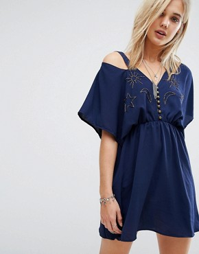 photo Astro Bandit Kimono Sleeve Mini Dress with Beading by Chandelier, color Navy - Image 1