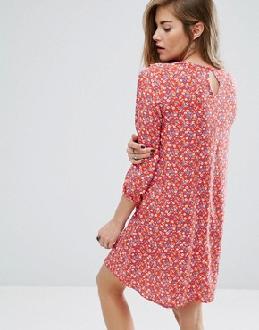 photo Frill Front Smock Dress In Disty Floral by Nobody's Child, color Red - Image 2