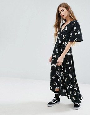 photo Wrap Front Midi Dress In Floral by Nobody's Child, color Black - Image 1
