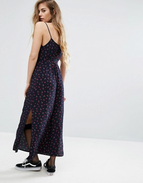 photo Cami Midi Dress In Disty Floral by Nobody's Child, color Navy - Image 2