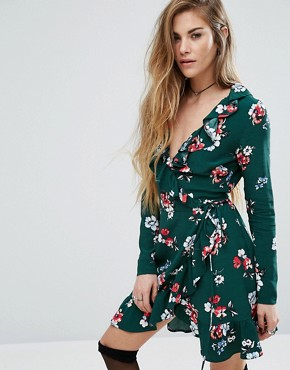 photo Wrap Front Mini Dress In Floral Print by Nobody's Child, color Green - Image 1