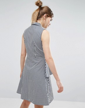 photo Stripe Shirt Dress With Frill by Closet London, color White with Navy Stripe - Image 2