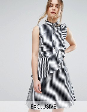 photo Stripe Shirt Dress With Frill by Closet London, color White with Navy Stripe - Image 1