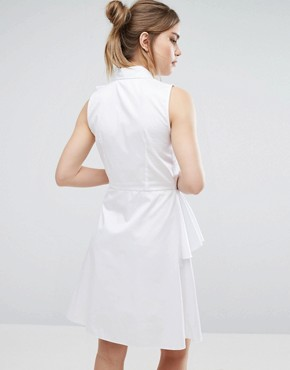 photo Shirt Dress With Frill by Closet London, color White - Image 2
