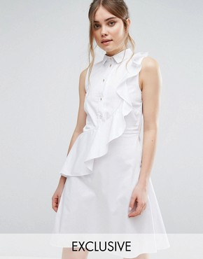 photo Shirt Dress With Frill by Closet London, color White - Image 1