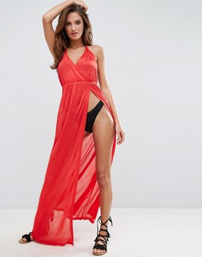 photo Plunge Slinky Jersey Maxi Beach Dress by ASOS, color Red - Image 1