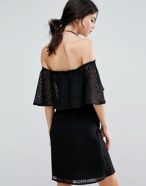 photo Off Shoulder Lace Dress with Frill Detail by ASOS TALL, color Black - Image 2