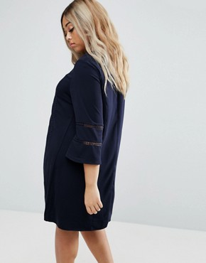 photo Fluted Sleeve Shift Dress by Truly You, color Navy - Image 2