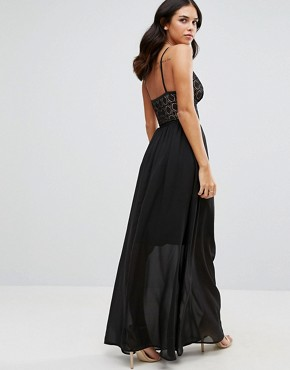 photo Last Night Plunge Front Maxi Dress by WYLDR, color Black - Image 2