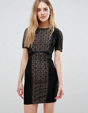 photo Lace Dress with Contrast Lining by WYLDR, color Black - Image 1