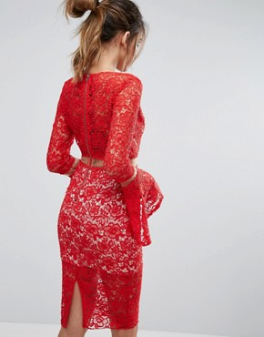 photo Lace Midi Dress with Flared Sleeves by Love Triangle, color Red - Image 2