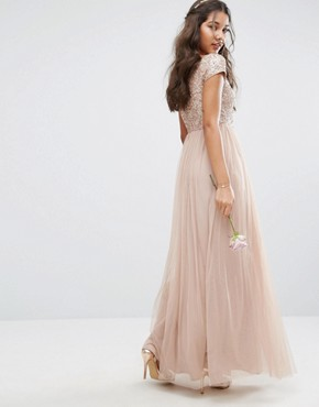 photo Bardot Maxi Dress With Delicate Sequin And Tulle Skirt by Maya, color Mink - Image 2