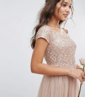 photo Bardot Maxi Dress with Delicate Sequin and Tulle Skirt by Maya, color Mink - Image 3