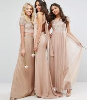 photo Bardot Maxi Dress with Delicate Sequin and Tulle Skirt by Maya, color Mink - Image 4