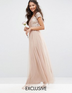 photo Bardot Maxi Dress With Delicate Sequin And Tulle Skirt by Maya, color Mink - Image 1