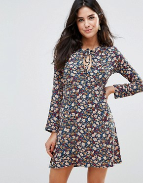 photo Love Ready Floral Printed Tea Dress with Keyhole Front by WYLDR, color  - Image 1