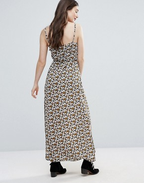 photo Long Island Cherry Blossom Printed Maxi Slip Dress with Side Splits and Waist Tie by Goldie, color  - Image 2