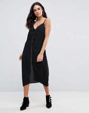 photo Trippin Chiffon Midi Length Slip Dress with Lace Up Front Detail by Goldie, color Black - Image 1