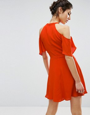 photo Cold Shoulder Skater Dress with Floral Embroidery by ASOS, color Orange - Image 2