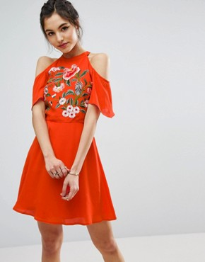 photo Cold Shoulder Skater Dress with Floral Embroidery by ASOS, color Orange - Image 1