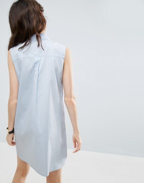 photo Sleeveless Cotton Shirt Dress by ASOS, color Blue - Image 2