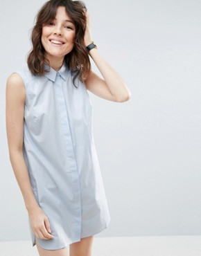 photo Sleeveless Cotton Shirt Dress by ASOS, color Blue - Image 1