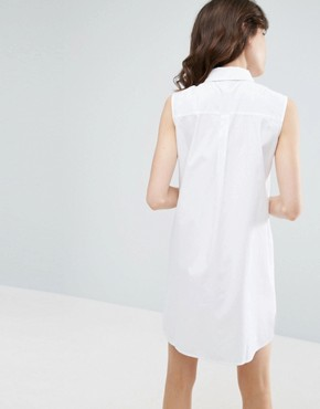 photo Sleeveless Cotton Shirt Dress by ASOS, color White - Image 2