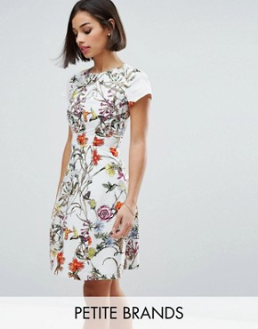 photo Skater Dress with Pleated Neckline by Uttam Boutique Petite, color Cream - Image 1