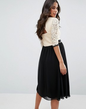 photo 2 In 1 Lace Skater Dress with Contrast Skirt by Little Mistress Maternity, color  - Image 2