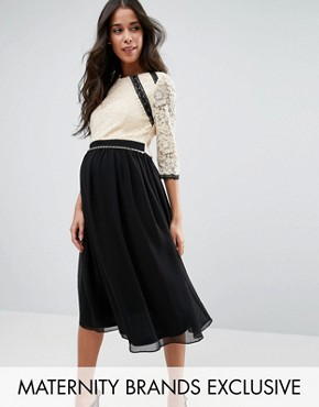 photo 2 In 1 Lace Skater Dress with Contrast Skirt by Little Mistress Maternity, color  - Image 1