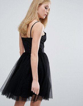 photo Sweetheart Tulle Mini Dress with Corset Detail by Chi Chi London, color Black - Image 2