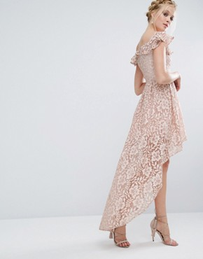 photo Lace Asymmetric Off The Shoulder Dress with Frill Details by Chi Chi London, color Mink - Image 1