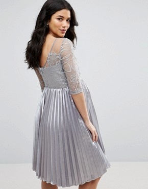 photo Lace Embroidered Bodice Dress with Pleated Skirt by Chi Chi London Maternity, color Grey - Image 2