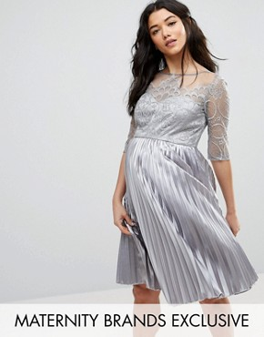 photo Lace Embroidered Bodice Dress with Pleated Skirt by Chi Chi London Maternity, color Grey - Image 1