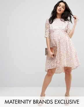 photo Allover Lace Dress with Dip Hem by Chi Chi London Maternity, color Mink - Image 1