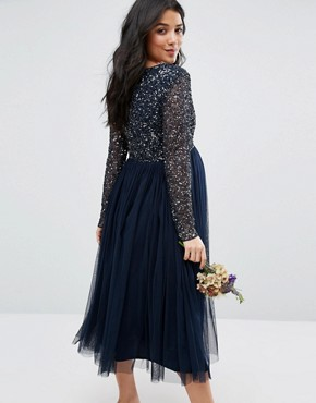photo Long Sleeve Midi Dress with Delicate Sequin and Tulle Skirt by Maya Maternity, color Navy - Image 2