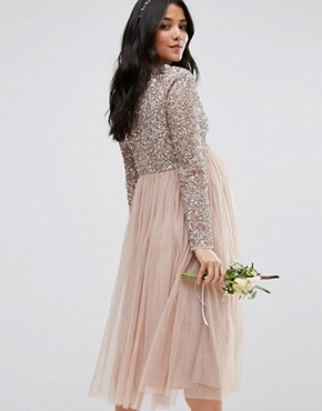 photo Long Sleeve Midi Dress with Delicate Sequin and Tulle Skirt by Maya Maternity, color Mink - Image 2
