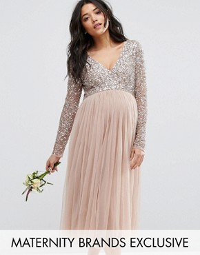 photo Long Sleeve Midi Dress with Delicate Sequin and Tulle Skirt by Maya Maternity, color Mink - Image 1